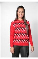 Blusa Decote Redondo Geométrica Tricot Vermelha Vermelho