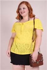 Blusa Devore Ombro a Ombro Plus Amarelo G