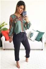 Blusa Dress To Preguinhas Estampa Floribela - Verde