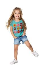 Blusa Estampa Detalhe Relevo & Glitter Menina Malwee Kids Azul Claro - 6
