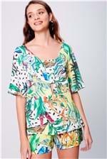 Blusa Estampa Floral Abertura no Decote