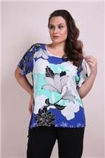 Blusa Estampa Floral Plus Size Azul PP