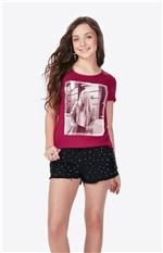 Blusa Estampa Frontal Enfim Rosa Escuro - G