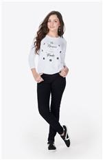 Blusa Estampa Glitter Enfim Branco - G