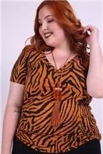 Blusa Estampa Zebra Plus Size Laranja G