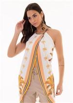 Blusa Estampada Alongada com Alças Cruzadas - Off C/ Coral Coqueiros P