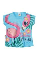 Blusa Estampada Flamingo Menina Zig Zig Zaa Azul Claro - 1