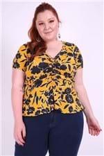 Blusa Estampada Floral Plus Size Amarelo P