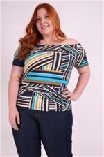 Blusa Estampada Ombro a Ombro Plus Size Azul Marinho P