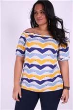 Blusa Estampada Ombro a Ombro Plus Size Azul PP