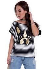 Blusa Feminina Ampla Listrada com Estampa Bulldog BL3236 - Kam Bess