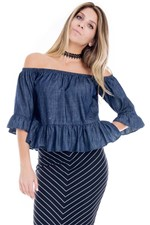 Blusa Feminina Ciganinha Jeans BL3374 - Kam Bess