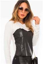 Blusa Feminina com Detalhe de Courino ML0614 - Kam Bess
