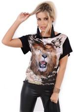 Blusa Feminina com Estampa de Leão 021765 - P