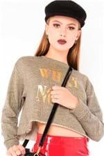 Blusa Feminina Cropped de Moletinho com Lurex ML0591 - Kam Bess