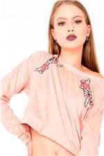 Blusa Feminina Cropped de Suede com Patches ML0578 - Kam Bess