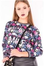 Blusa Feminina Cropped Estampada Manga Longa ML0621 - Kam Bess
