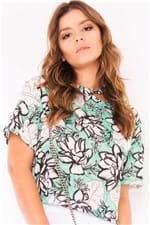 Blusa Feminina Cropped Floral Gola Assimétrica BL4126 Kam Bess