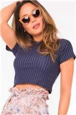 Blusa Feminina Cropped Risca de Giz BL2940 - Kam Bess