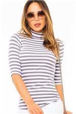 Blusa Feminina de Malha Canelada Listrada BL2913 - Kam Bess