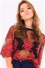 Blusa Feminina de Tule Rendado BL3956 - Kam Bess