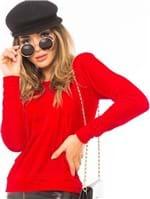 Blusa Feminina de Veludo com Lettering ML0646 - Kam Bess