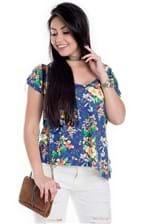 Blusa Feminina de Viscolycra Floral com Decote V BL3388 - Kam Bess