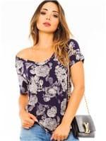 Blusa Feminina Estampada com Decote V BL3993 - Kam Bess