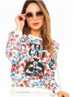 Blusa Feminina Estampada Floral com Ilhós ML0643 - Kam Bess
