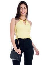 Blusa Feminina Frente Única com Bijoux na Gola BL3321 - Kam Bess