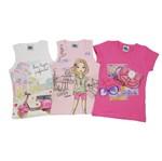 Blusa Feminina Infantil Kit com 3 Unidades Branca, Rosa e Pink-4