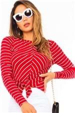 Blusa Feminina Listrada com Amarração ML3616 - Kam Bess