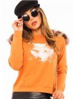 Blusa Feminina Moletinho com Pelos na Gola ML0632 - Kam Bess