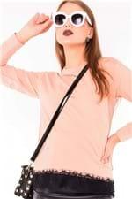 Blusa Feminina Moletom com Renda na Barra ML0584 - Kam Bess