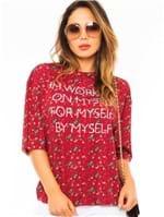 Blusa Feminina Oversized com Estampa Lettering BL3850 - Kam Bess