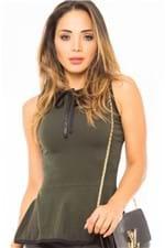 Blusa Feminina Peplum com Detalhe de Laço BL3211 - Kam Bess