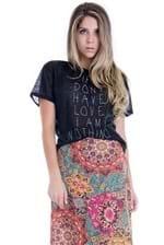 Blusa Feminina Transparente com Estampa BL2751 - Kam Bess
