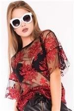 Blusa Feminina Transparente de Tule Bordado BL3955 - Kam Bess