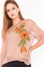 Blusa Feminina Transparente de Tule com Patch BL3696 - Kam BesS