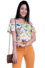 Blusa Feminino Floral Ciganinha com Babado BL3179 - Kam Bess
