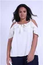Blusa Fios Metalizados Plus Size Off White G
