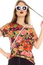Blusa Floral com Abertura Nas Costas BL3575 - Kam Bess