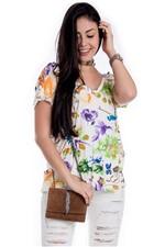 Blusa Floral com Ilhós Nas Costas BL3385 - Kam Bess