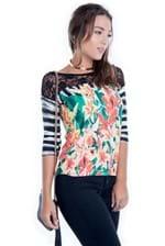Blusa Floral com Renda