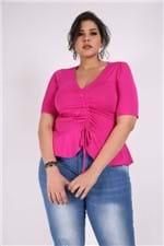 Blusa Franzida Plus Size Pink M