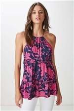 Blusa Frente U Floral Marais Bic Pink Estampado - 42