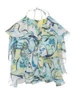 Blusa Frente Única Estampada Azul Tamanho 42