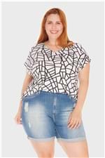 Blusa Geométrica Plus Size Branco-48/50
