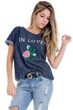Blusa Jeans Feminina Ampla In Love BL3432 - Kam Bess
