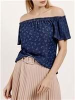 Blusa Jeans Manga Curta Ciganinha Feminna Azul